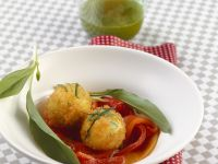 Fried Cheese Balls with Marinated Peppers recipe
