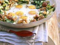 Fried Eggs with Asparagus and Shrimp recipe