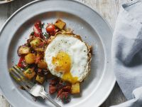 Fried Eggs with Sausage and Potato Hash recipe