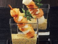 Fried Fish Skewers with Mustard-Dill Sauce recipe