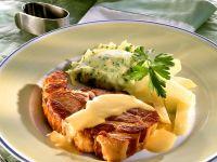 Fried German Kasseler (Cured Pork Chops) with Kohlrabi and Parsley Mashed Potatoes recipe