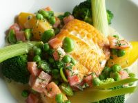 Fried Halibut with Vegetables recipe