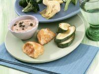Fried Mozzarella and Vegetable Fondue and Tuna Mayonnaise