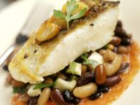 Fried Perch with Beans and Tomato Sauce recipe