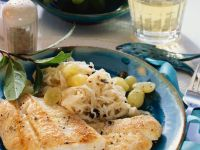 Fried Perch with Creamy Sauerkraut and Grapes recipe