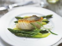 Fried Perch with Green Asparagus and Champagne Cream Sauce recipe