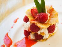 Fried Pineapple with Raspberries and Whipped Cream recipe