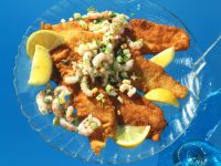 Fried Plaice Fillets with Crabmeat Salad
