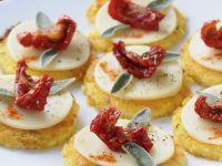 Fried Polenta Rounds with Mozzarella