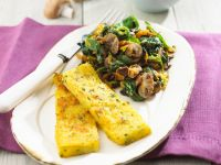 Fried Polenta Slices with Mushrooms and Spinach recipe