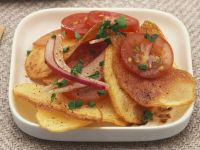 Fried Potato Salad with Tomato and Red Onion recipe