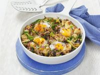 Fried Potatoes with Cabbage and Egg