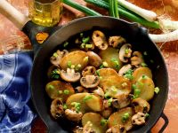 Fried Potatoes with Mushrooms and Scallions