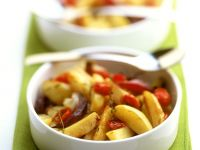 Fried Potatoes With Onions And Tomatoes