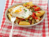 Fried Potatoes with Peppers, Pancetta and Egg recipe