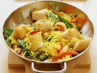 Fried Rice with Fish, Snow Peas and Peppers recipe