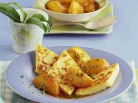 Fried Semolina Slices with Compote recipe