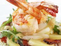 Fried Shrimp with Asparagus-Potato Salad and Smoked Ham recipe