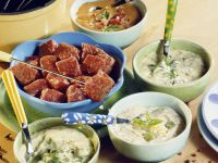Fried Sirloin Cubes with Dips recipe