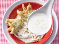 Fried Zucchini Blossoms with Lemon Sauce recipe