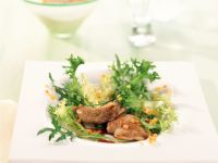 Frisee Arugula Salad with Quail and Lentils