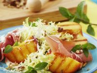 Frisée with Broiled Peaches and Serrano Ham recipe