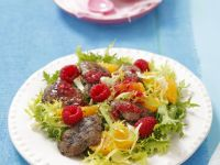 Frisee with Chicken Livers, Oranges and Raspberry Vinaigrette recipe