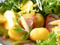 Frisee with Sweet Potatoes and Radishes recipe