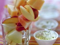 Fruit Skewers with Pistachio Mascarpone Cream recipe