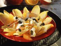 Fruity Endive Salad with Yogurt Dressing and Pumpkin Seeds recipe