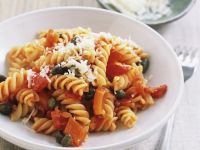 Fusilli with Bell Peppers, Capers and Parmesan recipe