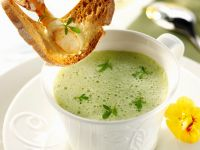 Garden Cress Bisque with Shrimp Toasts recipe
