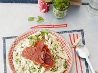 Garden Peas with Pasta and Crisp Ham recipe