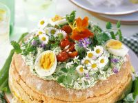 Garden-topped Fresh Wheat Bread with Savory Cream Fillings recipe