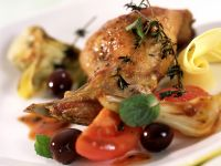 Garlic Rabbit with Artichokes recipe