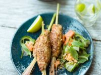 Ginger-chicken Skewers with Papaya-cucumber Salad recipe