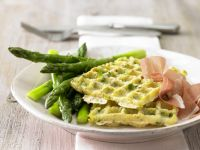 Glazed Asparagus with Potato Waffles recipe