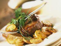 Glazed Beef Steak with Potatoes recipe