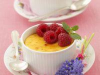 Glazed Custards with Berries recipe