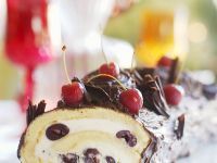 Glazed Jelly Roll Cake with Mascarpone Cherry Cream recipe