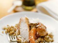 Glazed Rabbit Loins with Celery and Cashews recipe
