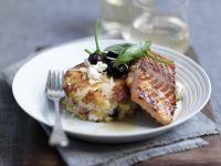Glazed Salmon with Potato Patties recipe