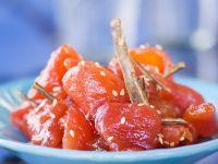 Glazed Tomato Salad with Sesame and Cinnamon recipe