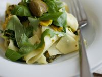 Zucchini with Ribbon Pasta and Capers