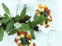 Goat Cheese Sticks with Wild Garlic and Sauteed Peppers recipe