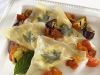 Goat Cheese Wontons with Eggplant and Tomatoes recipe