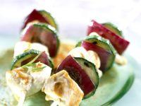 Golden Chicken and Zucchini Skewers recipe