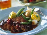 Goose Breast with Cherry Sauce and Vegetables recipe