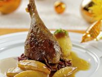 Goose Leg with Soft Fruit and Cabbage recipe