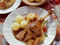 Goose Thighs with Cabbage and Dumplings recipe